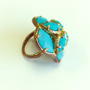 Jewelry - Turquoise & Gold Floral Statement Ring, size 7